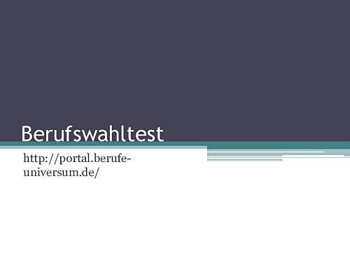Berufswahl - Der Test
